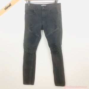 [Bullhead] Black Distressed Stacked Skinny Jeans